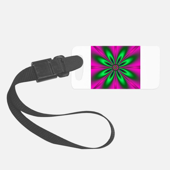 Green Flower on Pink by designef Luggage Tag