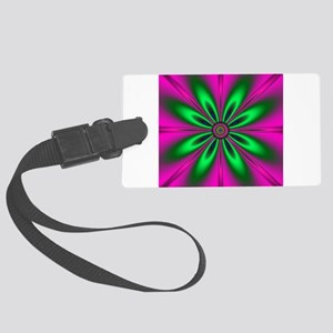 Green Flower on Pink by designef Large Luggage Tag