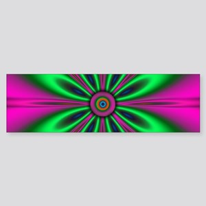 Green Flower on Pink by designeffec Bumper Sticker
