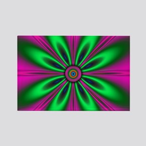 Green Flower on Pink by designeffects Magnets