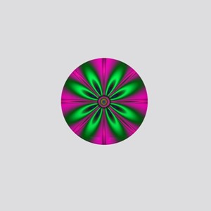 Green Flower on Pink by designeffects Mini Button