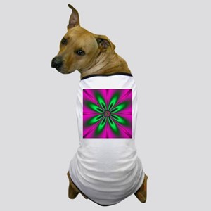 Green Flower on Pink by designeffects Dog T-Shirt