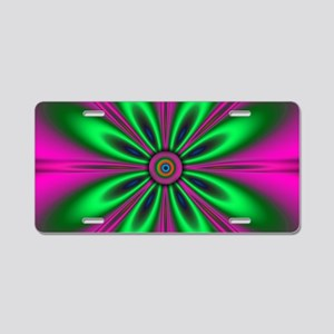 Green Flower on Pink by des Aluminum License Plate