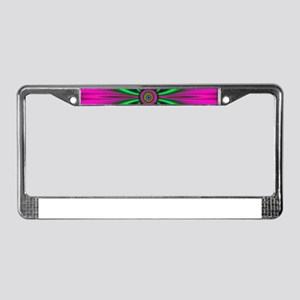 Green Flower on Pink by design License Plate Frame
