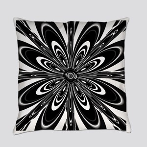 BW Flower Black and White Everyday Pillow