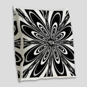 BW Flower Black and White Burlap Throw Pillow