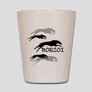 Many Borzois Running Shot Glass