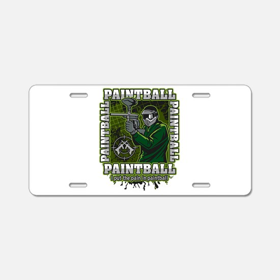 Paintball Player Green Team Aluminum License Plate