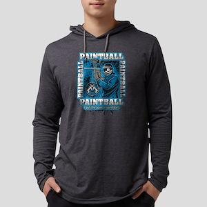 Paintball Player Blue Team Mens Hooded Shirt
