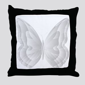 White grey Butterfly for Girls and Wo Throw Pillow