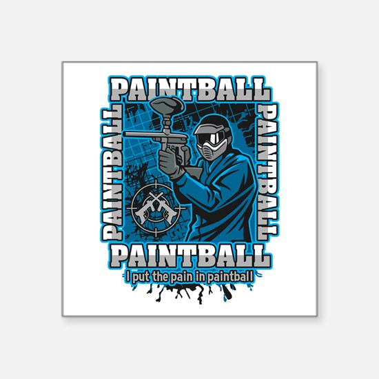 """Paintball Player Blue Team Square Sticker 3"""" x 3"""""""