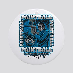 Paintball Player Blue Team Round Ornament