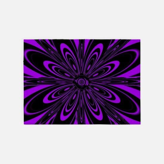 Purple Flower 5'x7'Area Rug