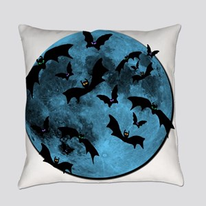 Bats Flying in Blue Moon Everyday Pillow