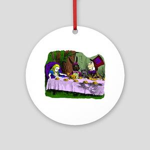 alice in wonderland tea party mad h Round Ornament