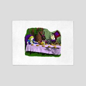 alice in wonderland tea party mad h 5'x7'Area Rug