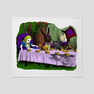 alice in wonderland tea party mad ha Throw Blanket