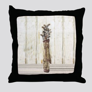 Antique Watercolor Golf Clubs Throw Pillow