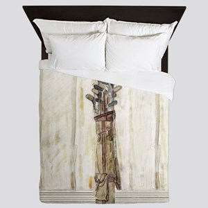 Antique Watercolor Golf Clubs Queen Duvet