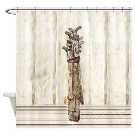 antique watercolor golf clubs shower curtain by 87973