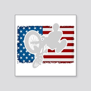 "Bmx American Flag Square Sticker 3"" X 3"""