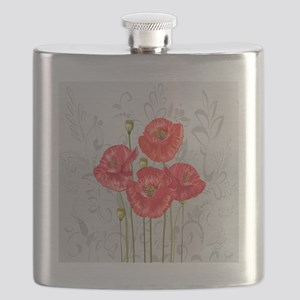 Four pretty red poppies Flask