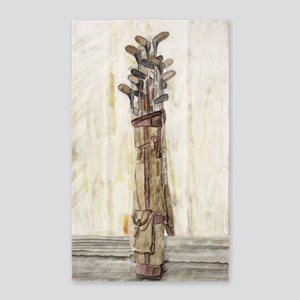 Antique Golf Clubs, Watercolor Print Area Rug