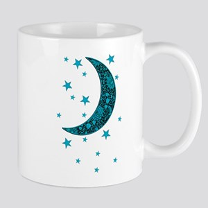 Cyan Blue Moon Stars Flowers Mugs