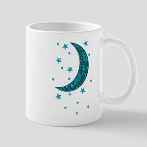 Cyan Blue Moon Stars Flowers Mugs