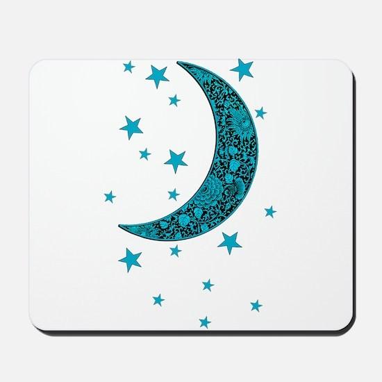Cyan Blue Moon Stars Flowers Mousepad
