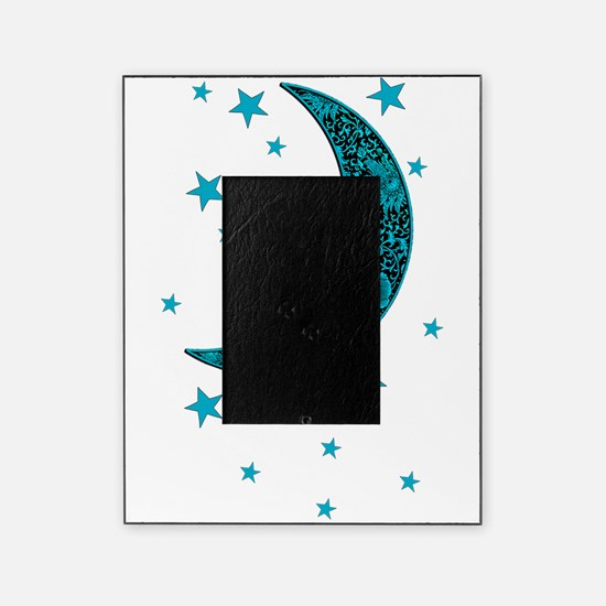 Cyan Blue Moon Stars Flowers Picture Frame