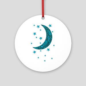 Cyan Blue Moon Stars Flowers Round Ornament