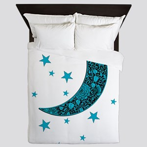 Cyan Blue Moon Stars Flowers Queen Duvet