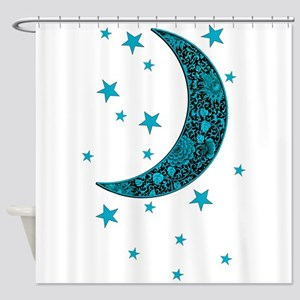 Cyan Blue Moon Stars Flowers Shower Curtain