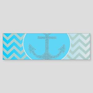 anchor ombre turquoise chevron Bumper Sticker