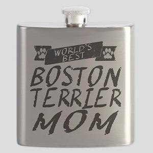 Worlds Best Boston Terrier Mom Flask