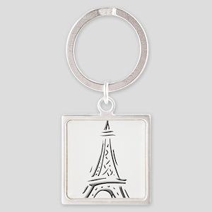 Effiel Tower Square Keychain