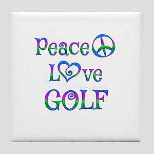 Peace Love Golf Tile Coaster