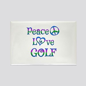 Peace Love Golf Rectangle Magnet