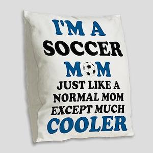 I'M A SOCCER MOM Burlap Throw Pillow
