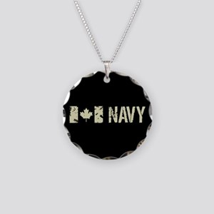 Canadian Flag: Navy Necklace Circle Charm