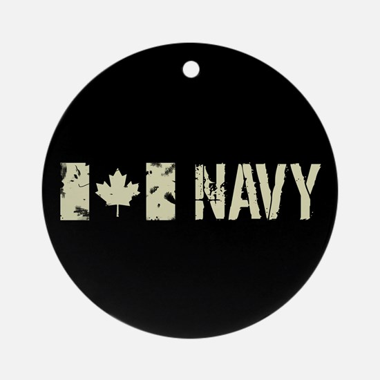 Canadian Flag: Navy Round Ornament