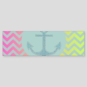 anchor mint pink ombre chevron Bumper Sticker