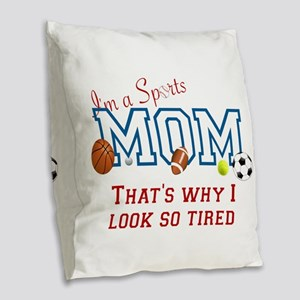 I'M A SPORTS MOM - BASEBALL, F Burlap Throw Pillow