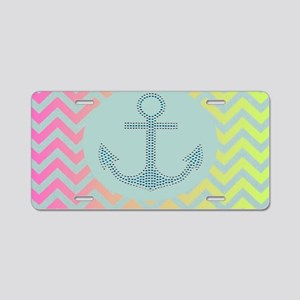 anchor mint pink ombre chev Aluminum License Plate