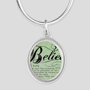 Believe Silver Oval Necklace