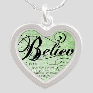Believe Silver Heart Necklace