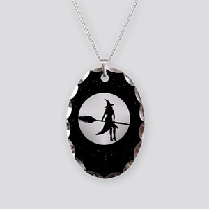 creepy witch Necklace Oval Charm
