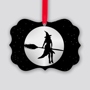 creepy witch Picture Ornament