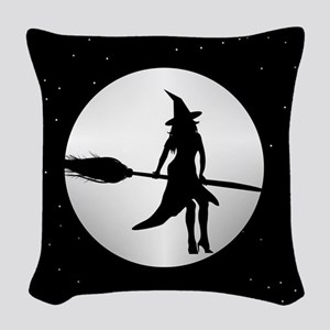 creepy witch Woven Throw Pillow